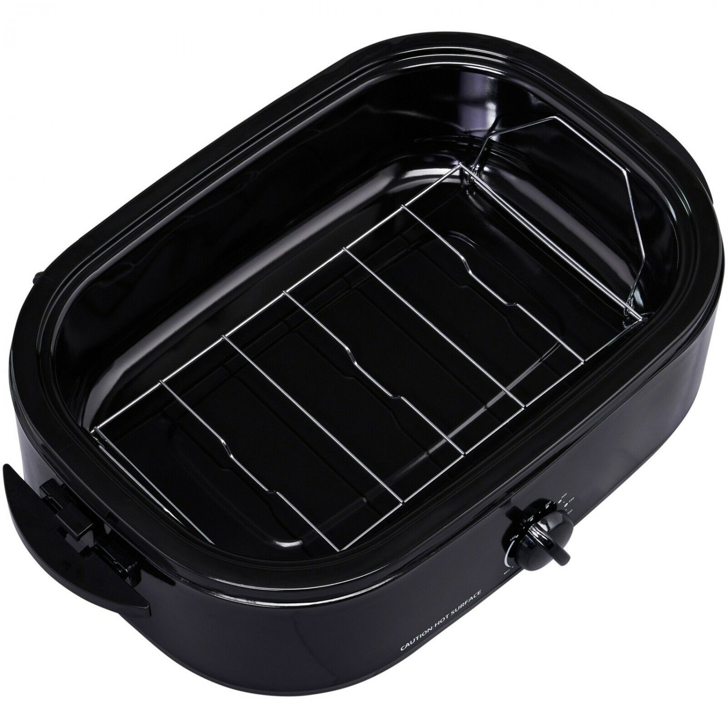 Mainstays 14 Quart Roaster Oven Black with Removable Steel Roasting Rack, 2 Piec