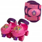 Disney Princess Kid's Rollerskates with Knee Pads, Junior Size 6-12