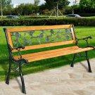 Patio Park Garden Bench Porch Chair Outdoor Deck Cast Iron Hardwood Rose
