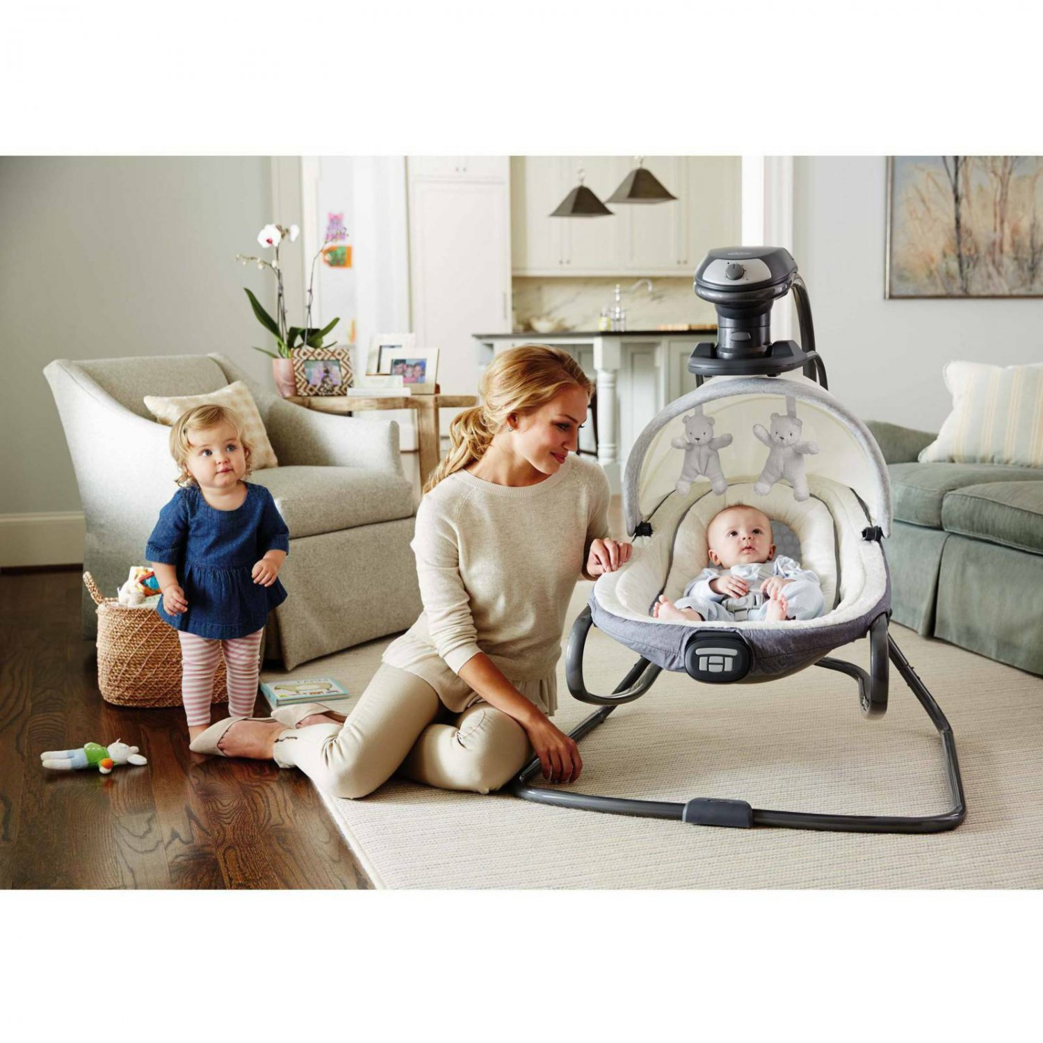 Graco Duet Oasis Baby Swing with Soothe Surround Technology, Davis