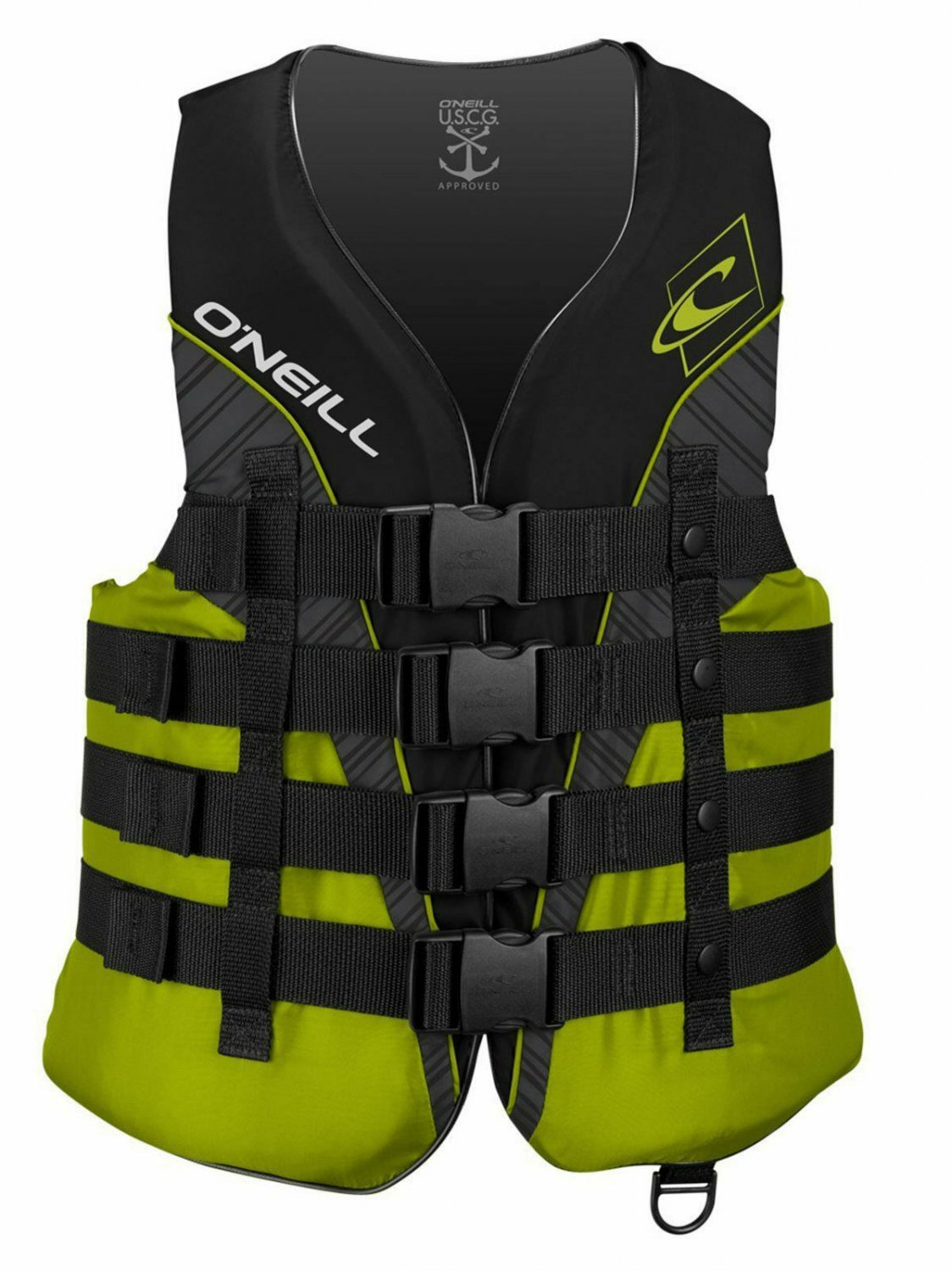 O'NEILL MEN'S SUPERLITE USCG LIFE VEST, Black/Lime/Smoke:Lime, Size 2XL