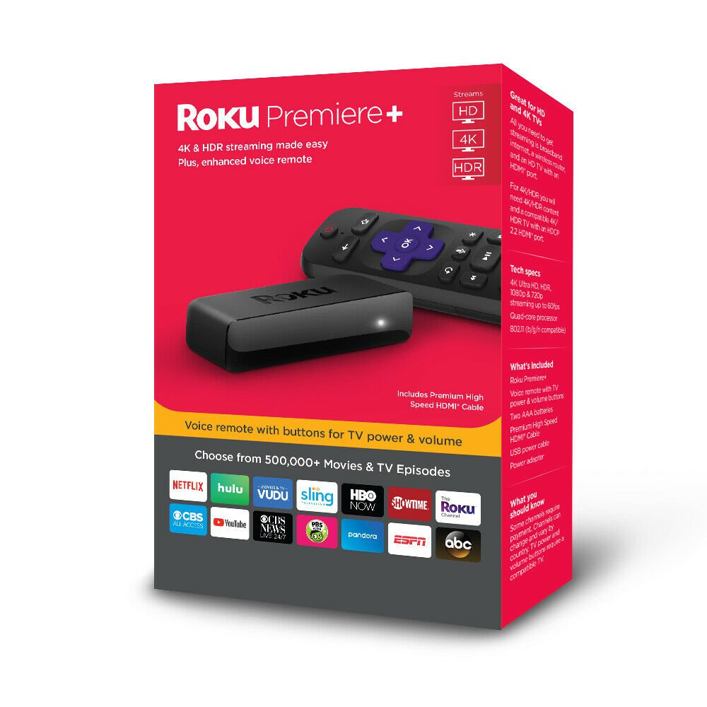 Roku Premiere+ 4K HDR Streaming Player - WITH 3 MONTHS FREE OF CBS ALL ACCESS ($