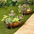 Set of 2 Classic Look Half Barrel Garden Yard Deck Planters Drainage Hole New