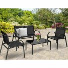 4 PCS Patio Furniture Set Sofa Coffee Table Steel Frame Garden Black Outdoors