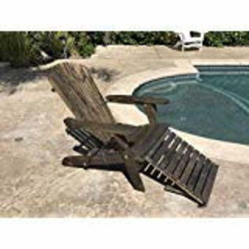 TruePower Outdoor Patio Deck Garden Foldable Adirondack Wood Chair with Pull Out