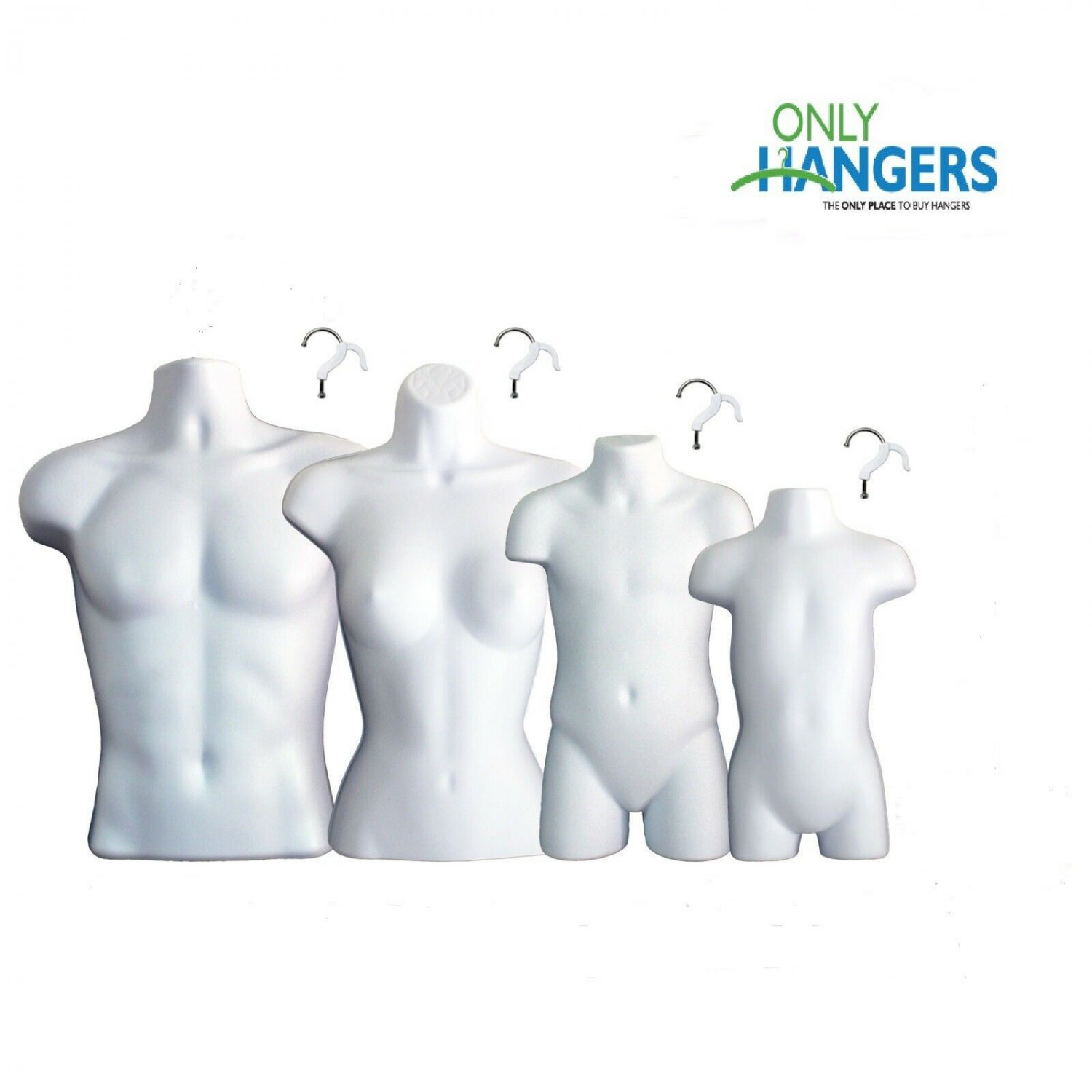 White Female Dress Male Child And Toddler Set - 4 Body Mannequin Forms Display