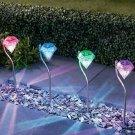 Solar Garden Lights Tulip Like diamond Shaped Outdoor Decor Color Changing LED