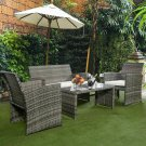 4 Pc Rattan Patio Furniture Set Garden Sofa Cushioned Seat Mix Gray Wicker