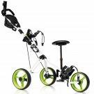 Foldable 3 Wheel Push Pull Golf Club Cart Trolley w/Seat Scoreboard Bag