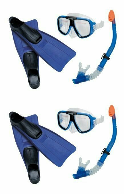 INTEX Reef Rider Adult Swimming Diving Mask, Snorkel Fins (Set of 2) |