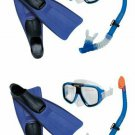 INTEX Reef Rider Adult Swimming Diving Mask, Snorkel Fins (Set of 2) |