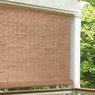 "Radiance 4' x 6' Cordless 1/4"" PVC Roll-Up Outdoor Sun Shade, Woodgrain"