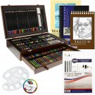 US Art Supply 162 Piece-Deluxe Mega Wood Box Art, Painting Drawing Set contains