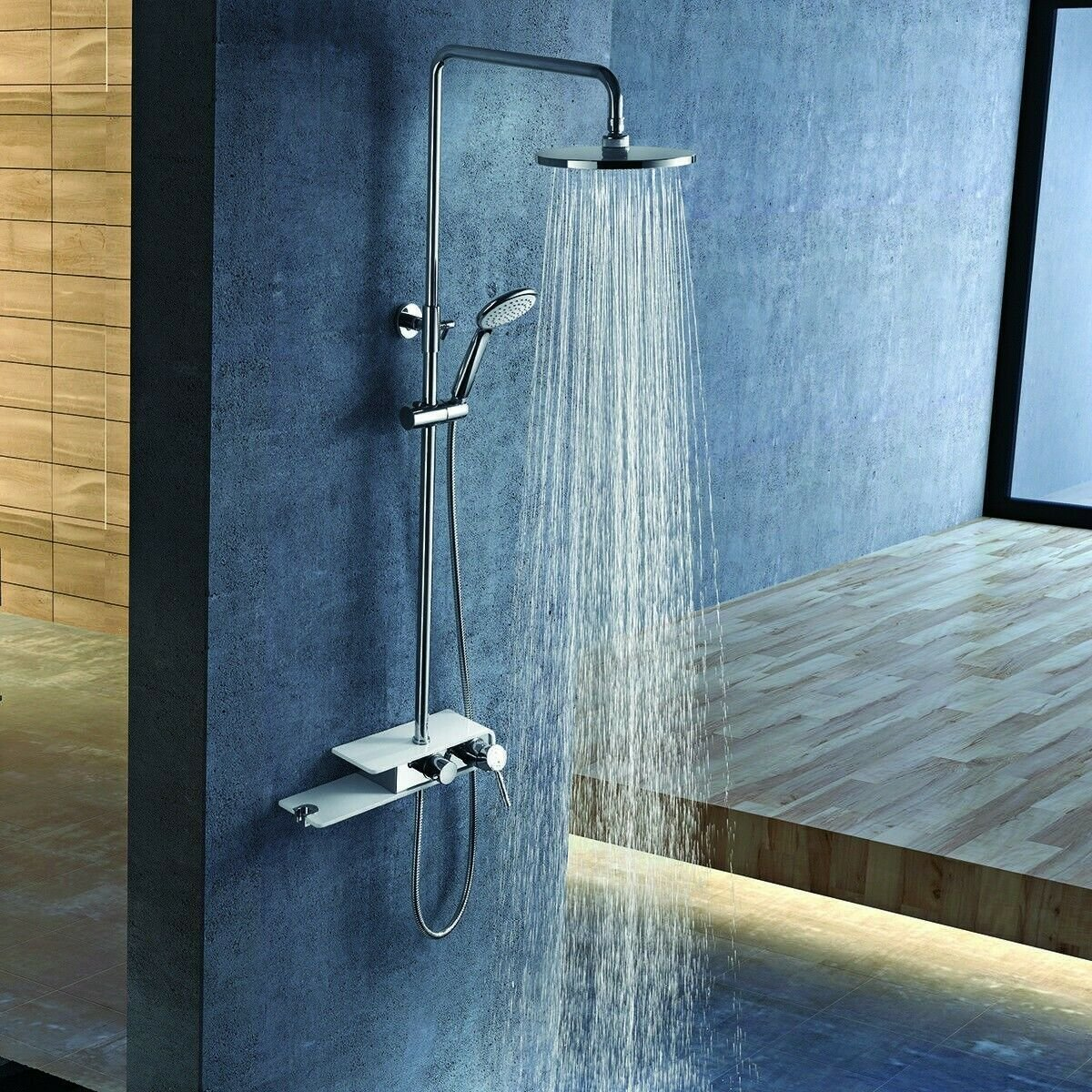 Stainless Steel Panel Rainfall Shower Column w /Hand Shower