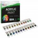 24 Color Set of Acrylic Paint in 12ml Tubes - Rich Vivid Colors for Artists, Stu