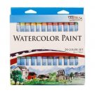 24 Color Set of Watercolor Paint in 12ml Tubes - Vivid Colors Kit for Artists, S