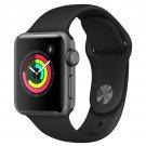 Refurbished Apple Watch Gen 3 Series 3 38mm Space Gray Aluminum - Black Sport Ba