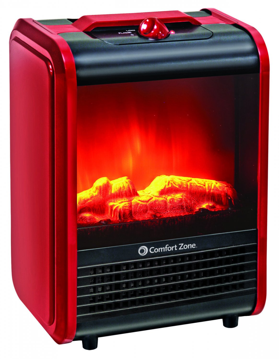 Comfort Zone Mini Electric Fireplace Space Heater, Red office or porch