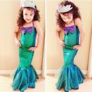 Kids Ariel Little Mermaid Set Girl Princess Dress Party Cosplay Costume Clothing