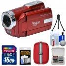 Vivitar DVR-508 HD Digital Video Camera Camcorder (Red) with 16GB Card + Case +