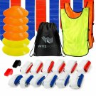 WYZworks 12 Player 3 Flag Football Kit Set - 12 Belts with 36 Flags + Bonus 6 Co