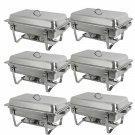 Zeny 6 Pack 8 Quart Stainless Steel Rectangular Chafing Dish Full Size Buffet