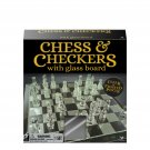 """Dealers Lane Chess Checkers Set with 9"""" Glass Board"""