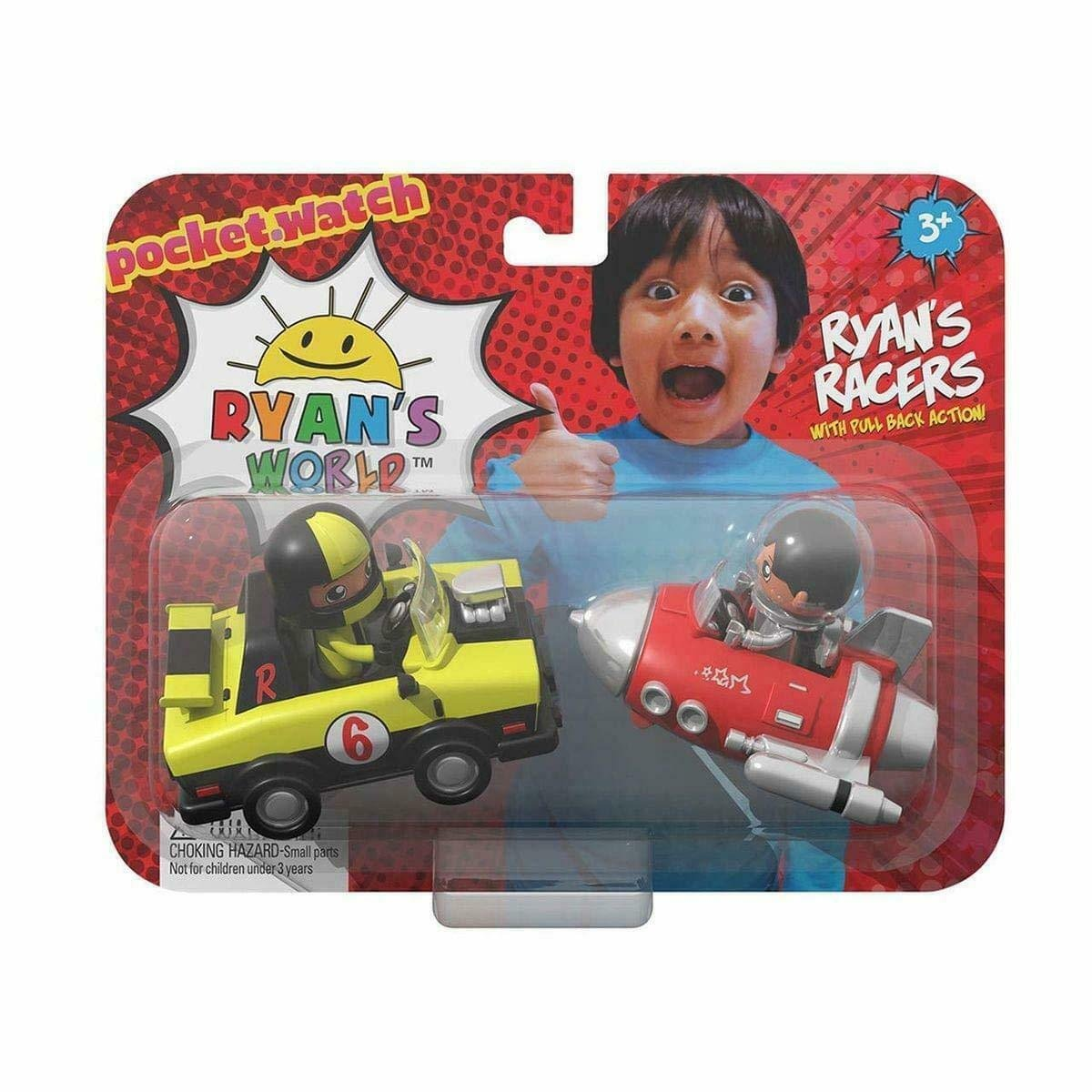 Ryan's World Ryan's Racers Pocket Watch Pull Back Action Cars, Each order comes