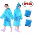 Outtop 2PCS Portable Reusable Raincoats Children Rain Ponchos For 6-12 Years Old