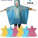 6 Pack Kids Emergency Rain Poncho Children Emergency Raincoat with Hood (Assorte