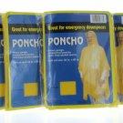 4 Yellow Rain Poncho Emergency Lightweight Hood Camping Outdoor Rain Coat Jacket