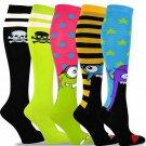 TeeHee Novelty Cotton Knee High Fun Socks 5-Pack for Women