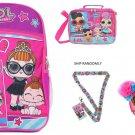 "Gift Set 5 Items Essentials Set L.O.L Surprise! Large School LOL Backpack 16"" Gi"