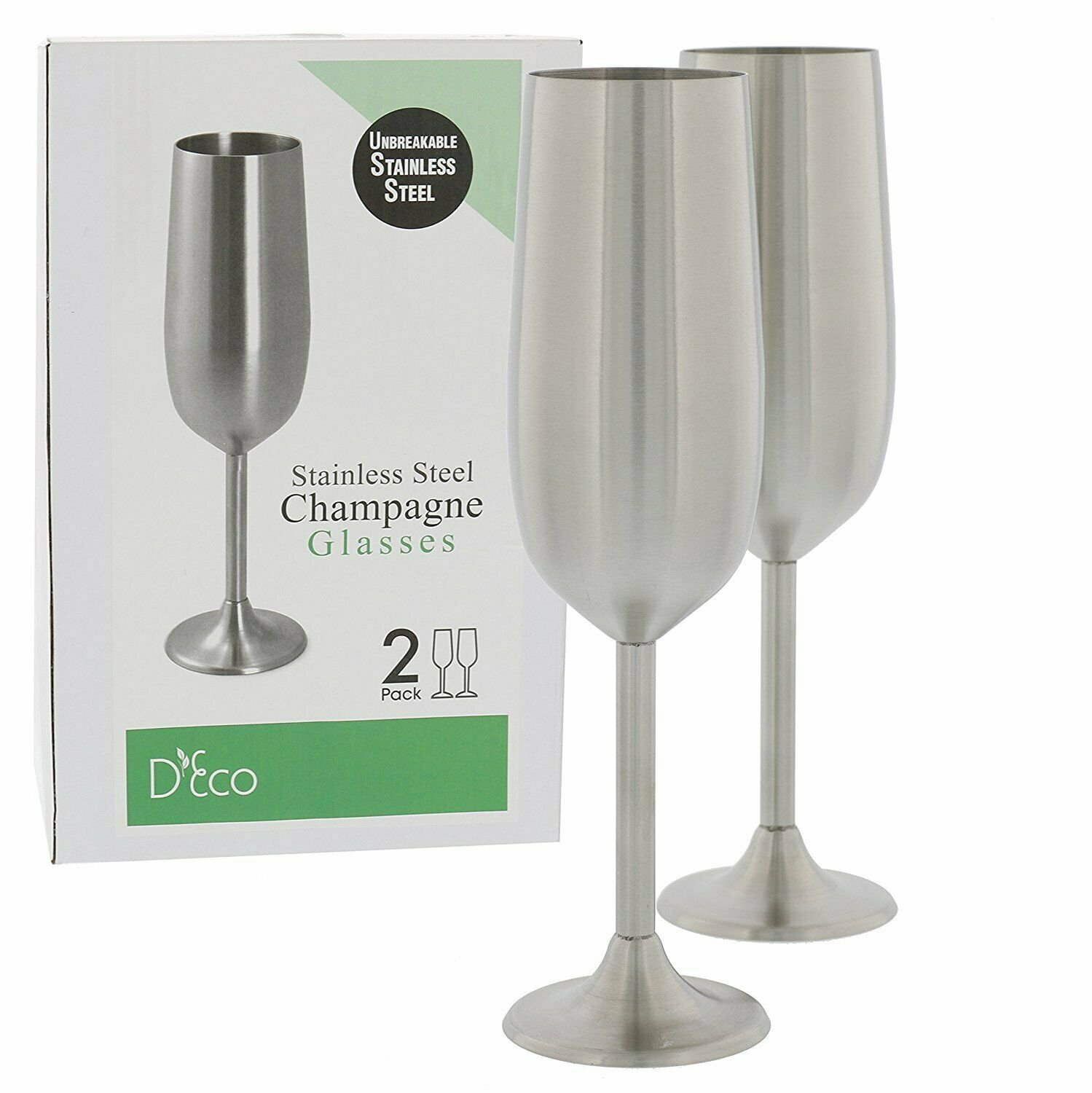 Stainless Steel Unbreakable Champagne Glasses- Set of Two 8 Ounce Champagne Flut