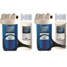 """Two 10"""" Big Blue Carbon and Sediment Water Filter System Whole House Purifier Wi"""