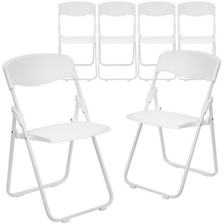 6 Pk. 880 lb. Capacity Heavy Duty Black Plastic Folding Chair with Built-in Ganging Brackets