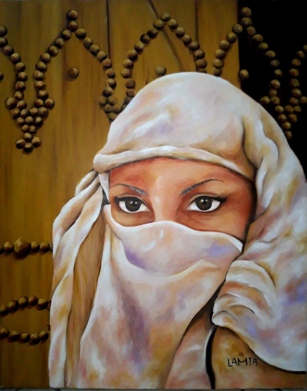 Oil painting traditional women art Tunisia