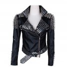 Handmade Women's Rock Punk Spikes Studs Leather jacket Motorbike Leather Fashion