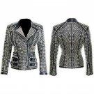 Women Punk Style Silver Studded Jacket Ladies Fashion Real Soft Leather Jacket