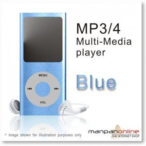 """MP3 MP4 Portable Multi Media Player 1.8"""" LCD w/ 2GB blue"""