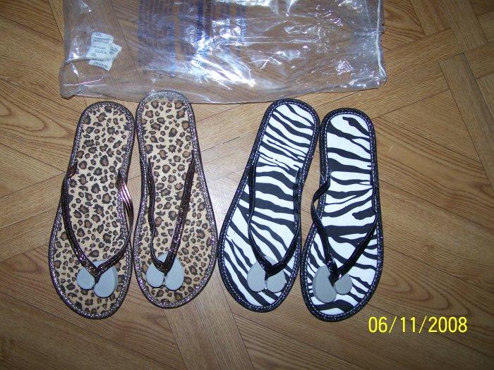 NEW Womens Leopard & Zebra Print Flip Flop Set Sz. L 9/10 http://dawnsdeals.ecrater.com