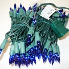 HLS Blue Mini Christmas Lights 100 Count Green Wire