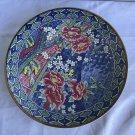 Large Antique Japanese Cloisonné  Asian Multi Color Floral Charger Plate.