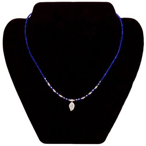 Blue Lapis Gemstone Beaded Sterling Silver Leaf Necklace
