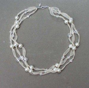 Swarovski Pearl & Crystal Multi Strand Ribbon Necklace