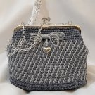 Crochet Knitted Grey/Blue Handbag