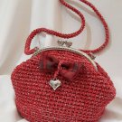 Crochet Knitted Red Handbag