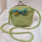 Crochet Knitted Green Handbag