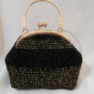 Crochet Knitted Black Handbag