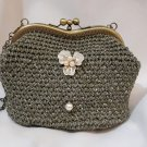 Crochet Knitted Gree Handbag